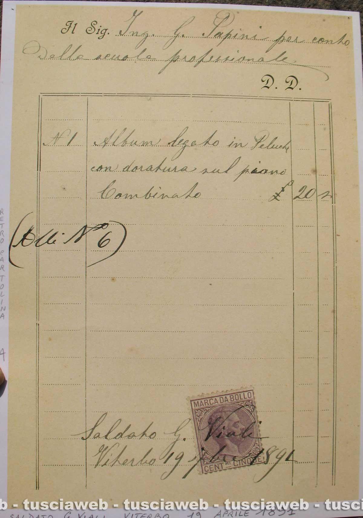Viterbo - Antica legatoria Viali - Ricevuta commerciale 1891