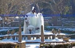 La fontana dei quattro mori a Villa Lante danneggiata dal ghiaccio