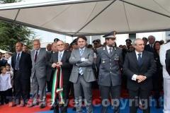 L\'assessore provinciale ai Lavori pubblici Gianmaria Santucci, il colonnello Paolo Occhipinti e il questore Gianfranco Urti