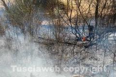 L\'incendio tra strada Bagni e la Superstrada