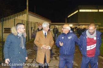 Tarquinia - Gianni Rivera rappresentanti dell'Asd-Tarquinia Calcio Massimiliano Coluccio, Renzo Bonelli e il- presidente Marco-Bellucci