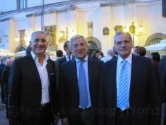 Rino Orsolini, presidente di Federlazio, al centro il commissario europeo all\'Industria Antonio Tajani e a destra l\'assessore Giovanni Arena
