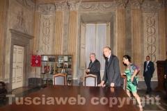 L\'arrivo del premier Enrico Letta, accompagnato dall\'ex ministro Giuseppe Fioroni
