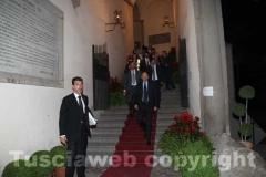 Il premier Letta e il presidente del Senato Grasso lasciano Palazzo dei Priori