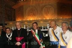 Il sindaco Marini con il vescovo Fumagalli e Massimo Mecarini