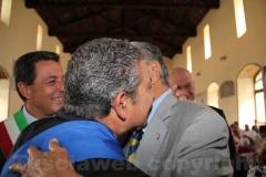 Il saluto tra Celestini e Marcello Meroi