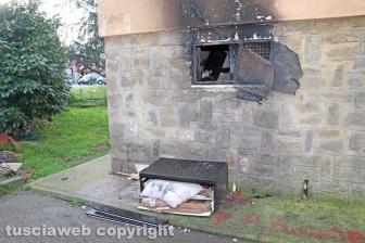 I locali andati a fuoco nella palazzina al Carmine