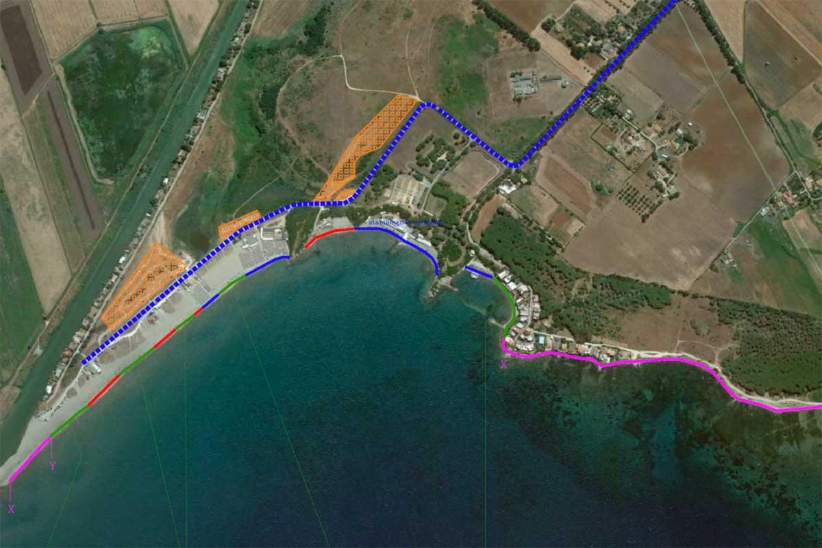 Tarquinia - La mappa d'accesso a Sant'Agostino (in viola i tratti interdetti)