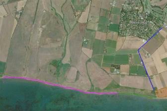 Tarquinia - La mappa d'accesso a Pian di Spille (in viola il tratto interdetto)