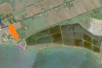 Tarquinia - La mappa d'accesso alle Saline (in viola il tratto interdetto)