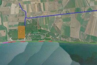 Tarquinia - La mappa d'accesso a Spinicci (in viola il tratto interdetto)