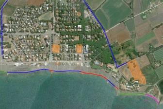 Tarquinia - La mappa d'accesso al lido (in viola il tratto interdetto)