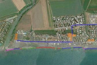 Tarquinia - La mappa d'accesso al lido (in viola i tratti interdetti)