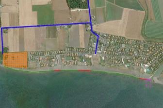 Tarquinia - La mappa d'accesso al Voltone (in viola il tratto interdetto)