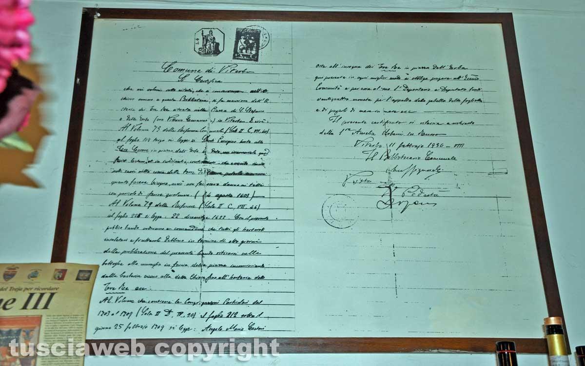 "Viterbo - Antico documento Ristorante ""I tre re"""