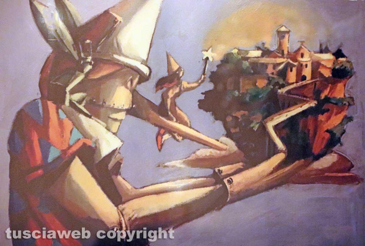 Viterbo - Il murales dedicato a Civita di Bagnoregio