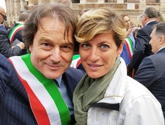 Roma - Francesco Bigiotti alla Festa della Liberazione a Roma con la giornalista Rai Valentina Bisti