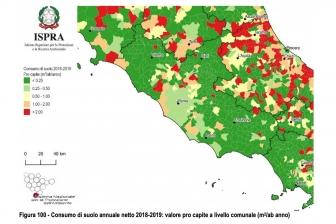 Rapporto Ispra-Snpa - Consumo di suolo annuale netto 2018-2019: valore pro capite a livello comunale (m2/ab anno)