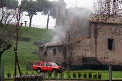 Viterbo - Incendio all'ex chiesa di santa Croce