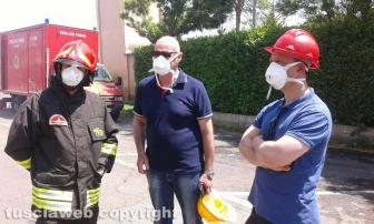 Incendio all'impianto di Casale Bussi - Mazzola coi vigili del fuoco