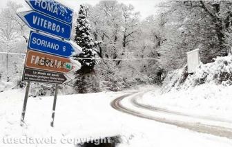 Maltempo - La neve sui Cimini - Strada Canepinese