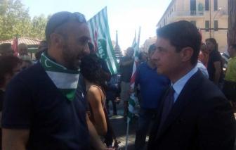 Alessandro Mazzoli alla manifestazione per la Trasversale