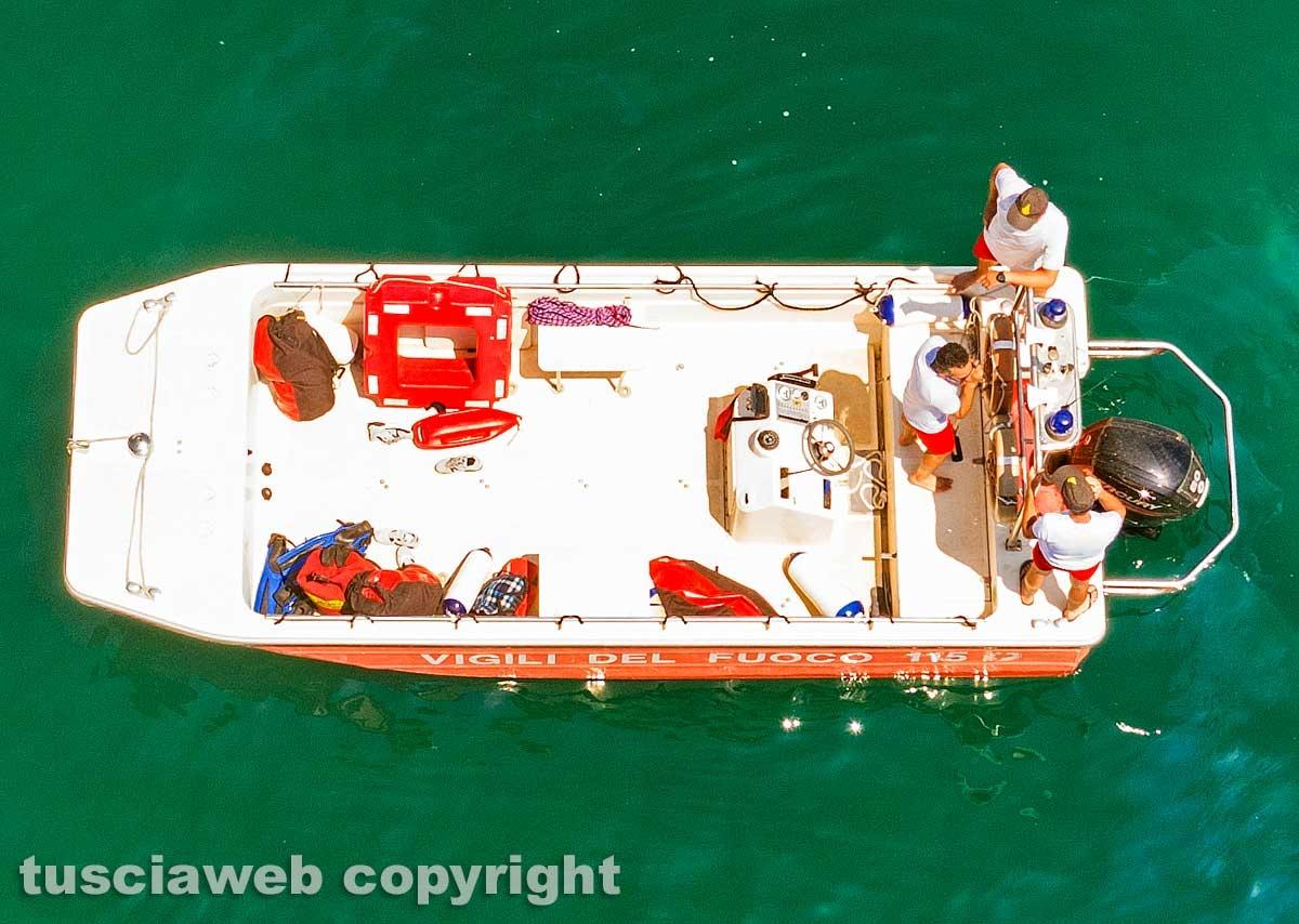 Lago di Bolsena - Idrovolante inabissato - L'intervento dei vigili del fuoco
