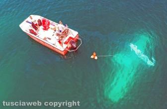Lago di Bolsena - Idrovolante inabissato - L'intervento dei vigili del fuoco - Foto Massimiliano Bellacima