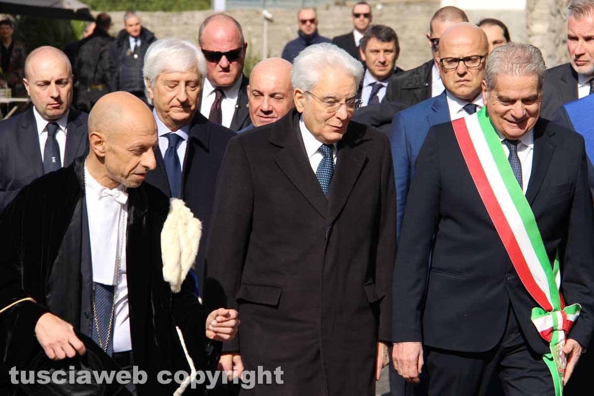 L'arrivo di Mattarella all'Unitus