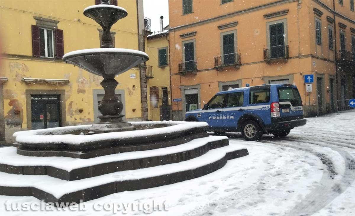 Maltempo - La neve a Montefiascone - Polizia