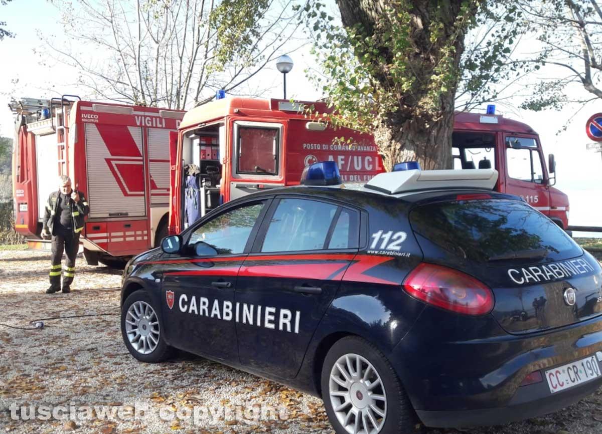 Lago di Bolsena - Le ricerche del disperso - I carabinieri e i vigili del fuoco