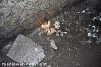 Resti di ceramica abbandonati da un tombarolo