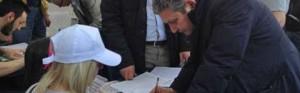 Il presidente Marcello Meroi firma contro l'Imu