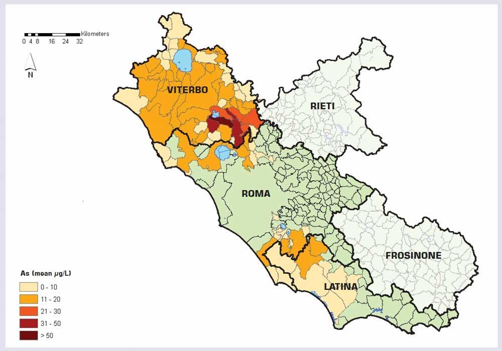 Cartina Del Lazio Con Tutti I Comuni.Arsenico Piu Tumori Ipertensione E Malattie Del Cuore Tusciaweb Eu