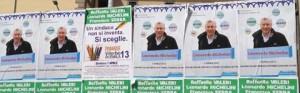 I manifesti per Leonardo Michelini sulle plance elettorali