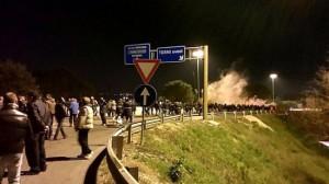 La manifestazione degli operai dell'Ast di Terni sulla E45