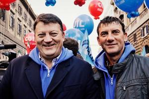 Sciopero a Roma - Pierpaolo Bombardieri e Giancarlo Turchetti