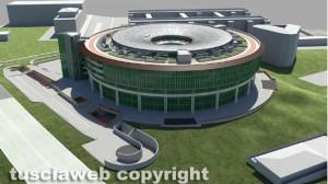 Viterbo - Polonord - Il rendering della megastruttura dietro al tribunale