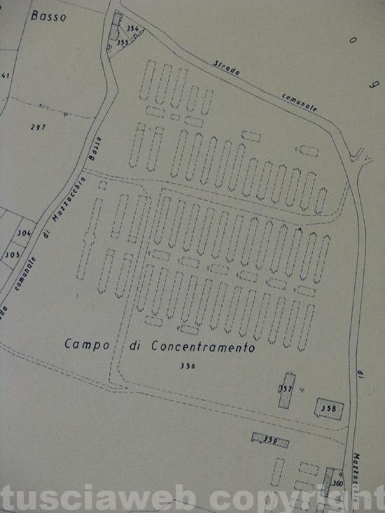 La mappa catastale del campo di concentramento di Vetralla