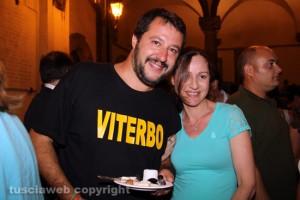 Viterbo - Santa Rosa 2015 - Matteo Salvini con una sostenitrice in dolce attesa che chiamerà il figlio Matteo