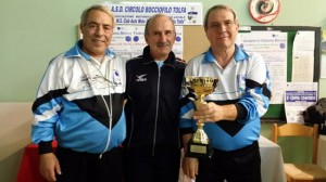 Sport - Bocce - Coppa città di Tolfa - I secondi classificati Celletti e Bassardini con Galliano Deangelis