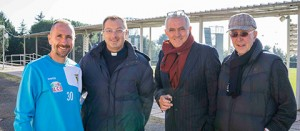 Sport - Calcio - Viterbese - Don Pino assieme a Federico Nofri, Vincenzo Minguzzi e Massimo Racioppa