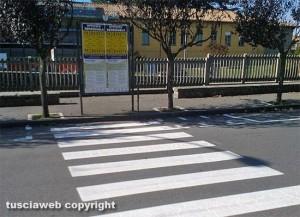 Viterbo - Piazza Crispi - Le nuove strisce pedonali
