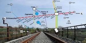 Mappa ferroviaria Civitavecchia-Capranica-Orte