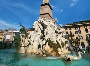 La fontana dei quattro fiumi a piazza Navona