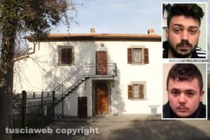 Viterbo - Ponte dei Cetti - Il casale dove si sono nascosti i camorristi - Nei riquadri Giovanni Tabasco e Gaetano Formicola