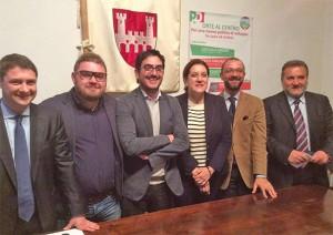 Mazzoli, Marini e Egidi e Panunzi con i candidati sindaco