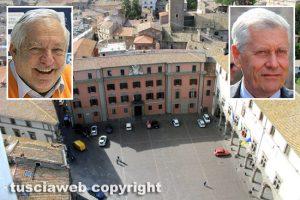 Viterbo - Piazza del Comune - Nei riquadri: a sinistra Piero Camilli, a destra Leonardo Michelini