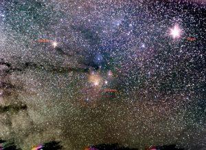 Astronomia - La Via lattea e la stella rossa Antares