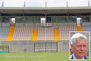 Sport - Calcio - Viterbese - Lo stadio Enrico Rocchi - Nel riquadro: il sindaco Leonardo Michelini